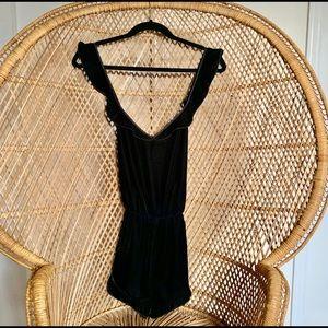 NWOT Victoria's Secret Black Velvet Romper